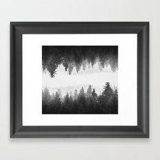 Black and white foggy mirrored forest Framed Art Print