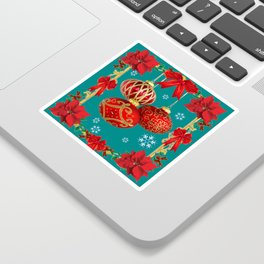 TEAL COLOR RED CHRISTMAS  ORNAMENTS &  POINSETTIAS FLOWER Sticker