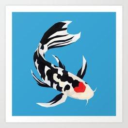 Geo Koi Black & White Art Print