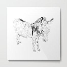 mini donkey drawing, b&w Metal Print