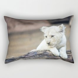 Baby White Lion Cub Taking 5! Rectangular Pillow