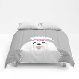 Pima - Shih Tzu cute white funny dog art customizable gift for dog person dog lovers pet art Comforters
