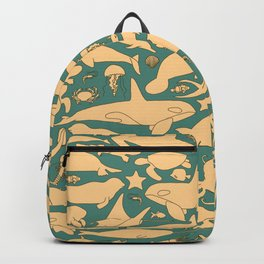 Minimalist, yellow and blue pattern of sea animals Backpack