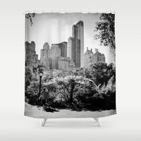 central park Shower Curtains featuring Central Park by Petra Heitler