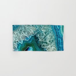 Aqua turquoise agate mineral gem stone- Beautiful backdrop Hand & Bath Towel