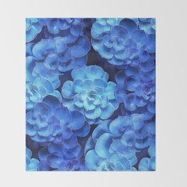 Succulent Plants In Blue Tones #decor #society6 #homedecor Throw Blanket