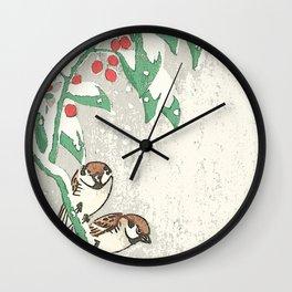 Christmas card Snow sparrows Wall Clock
