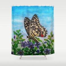 Chequered swallowtail  Shower Curtain