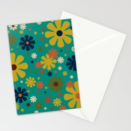 Flowerama - Retro Floral Pattern in Mid Mod Colors on Turquoise Teal Stationery Cards
