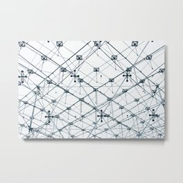 Underneath the Louvre Pyramid Metal Print