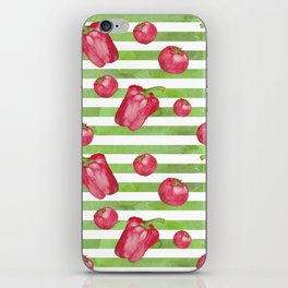 Red Bell Peppers on Green Stripes iPhone Skin
