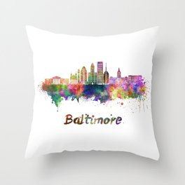 Baltimore skyline in watercolor Throw Pillow