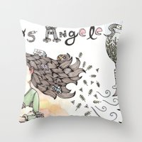 los angeles Throw Pillows featuring Los Angeles by Brooke Weeber