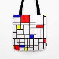 mondrian Tote Bags featuring Mondrian inspired by Steve W Schwartz Art