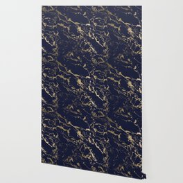 Modern luxury chic navy blue gold marble pattern Wallpaper