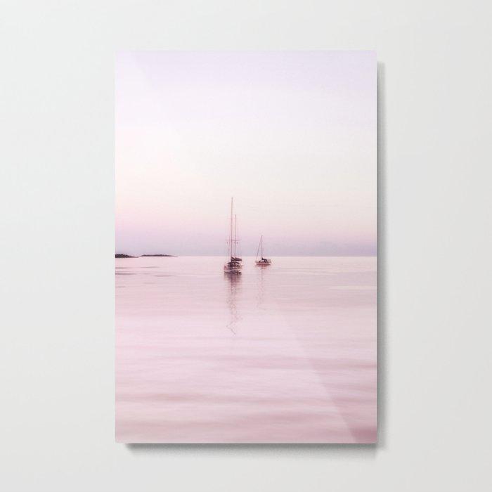 Pink Bahama Sunrise with sail boats Metal Print