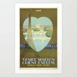 London, Paris, Venice - Venice Simplon, Orient Express - Vintage Train Travel Poster Art Print