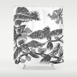 Japanese Birds Shower Curtain