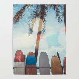 Surf Life Tropical Coastal Landscape Surfboard Scene Poster