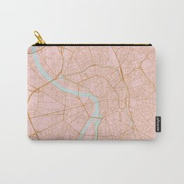 Pink and gold Toulouse map, France Carry-All Pouch