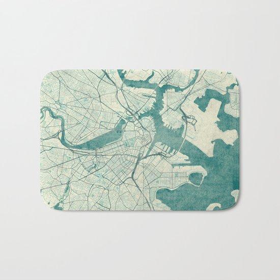 Boston Map Blue Vintage Bath Mat