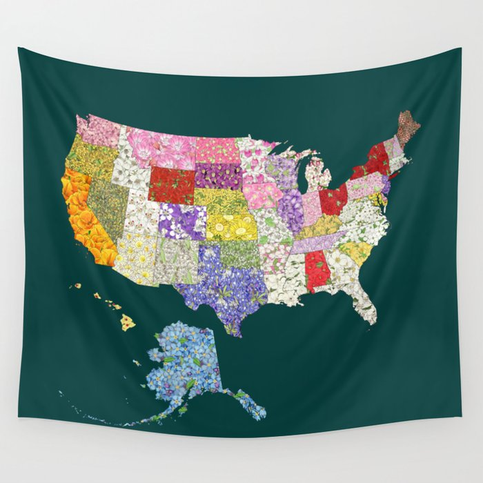 United States in Flowers Wall Tapestry