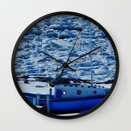 Boat in Frozen land Wall Clock