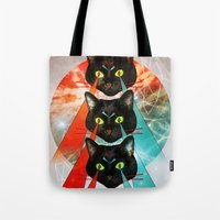 hippy Tote Bags featuring Hippy Cats by Lauren Miller