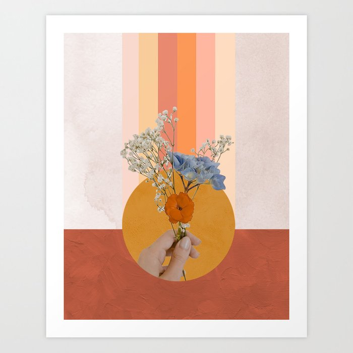 Flower Digital Collage Art Print