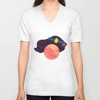 katamari V-neck T-shirts featuring Satellite by badOdds