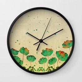 """Green flowers & Dots"" Wall Clock"