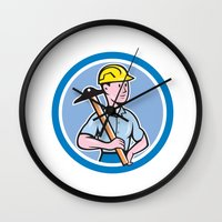 engineer Wall Clocks featuring Engineer Architect T-Square Circle Cartoon by patrimonio