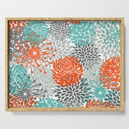 Orange and Teal Floral Abstract Print Serving Tray