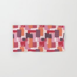 Abstract Linen Color Block Collage in Pinks and Reds Hand & Bath Towel