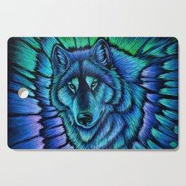 Blue Wolf Aurora Colorful Fantasy Cutting Board