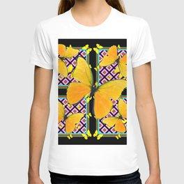 Golden Yellow Butterflies Pattern On Black T-shirt