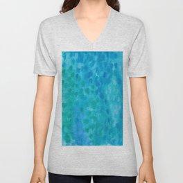 Ocean Blue Abstract Watercolor Unisex V-Neck