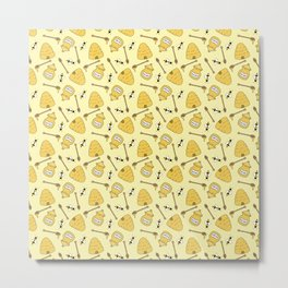 Honeybee and Beehive Pattern Metal Print