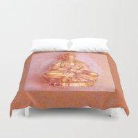 budi satria kwan Duvet Covers featuring Rose-Bronze Kwan Yin by Jan4insight