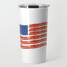"When Bacon Is Love, Bacon Is Life ""American Flag Bacon"" T-shirt Design Food Breakfast Lunch Snack Travel Mug"