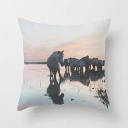 Camargue Horses I ... Throw Pillow