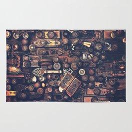 Collage of old door knobs Rug