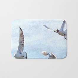 Three Seagulls Watercolor Bath Mat