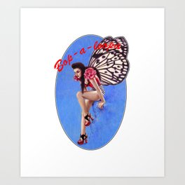 Vintage 1950's Rockabilly Butterfly Girl Pin-up Art Print