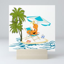 Crab on a Summer Beach Vacation Mini Art Print