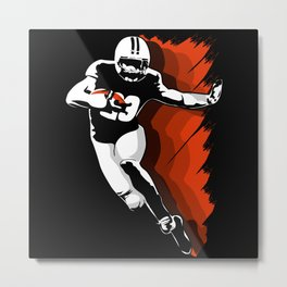 Football Player run for a Touchdown Metal Print