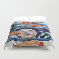 anxiety Duvet Covers featuring Anxiety by NappingNinja