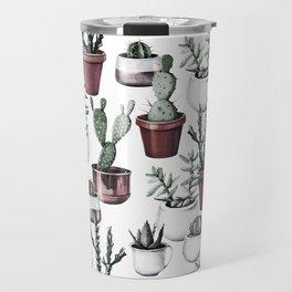 Happy Cacti in Rose Gold Pots Pattern Travel Mug