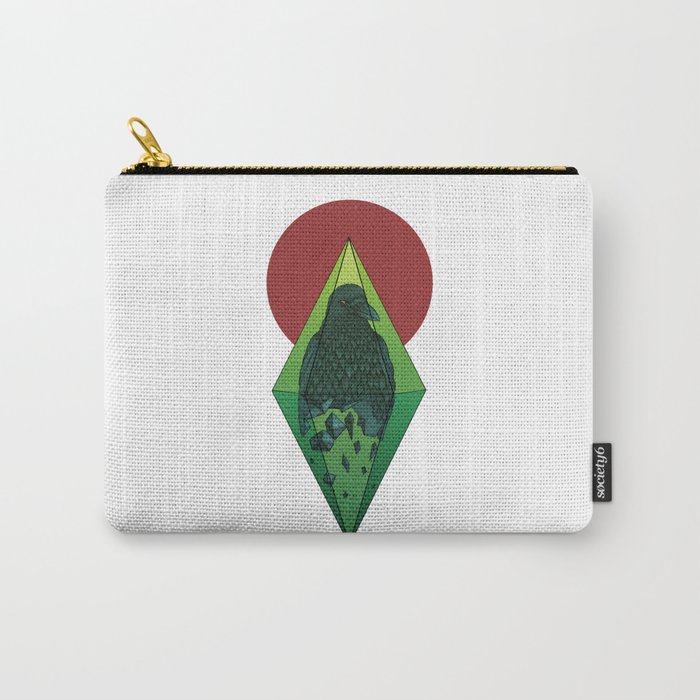 Geometric Crow in a diamond (tattoo style - color version) Carry-All Pouch