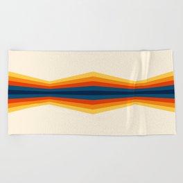 Bright 70's Retro Stripes Reflection Beach Towel